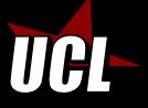 logo de l'UCL : une étoile, les branches du haut sont rouges, celles du bas sont noires. Les lettres UCL par-dessus.